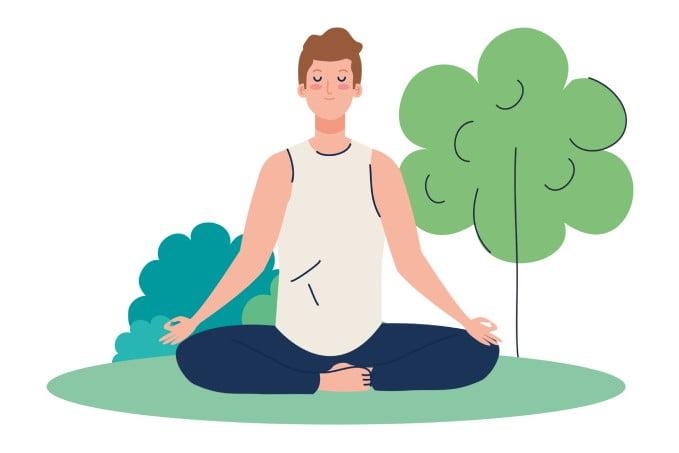 medytacja: co to jest, medytujący mężczyzna